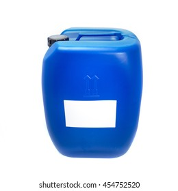 Big blue plastic canister, container with label; your text here; isolated on white background