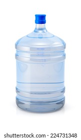 Big blue plastic cooler bottle for potable water isolated on a white background