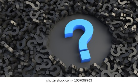 Big blue question mark on a background of black signs. 3D Rendering.