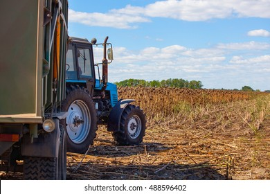 Big blue tractor with a trailer loaded with sunflower seeds close-up on the field. Autumn harvest.