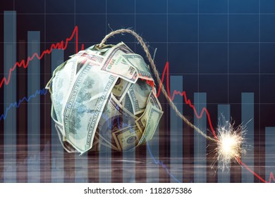 Big bomb of money hundred dollar bills with a burning wick. Little time before the explosion. The concept of financial currency crisis