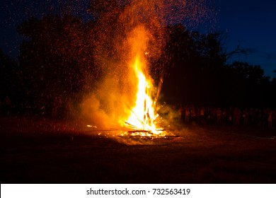 Big bonfire on festival
