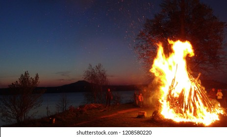 big bonfire on a lake