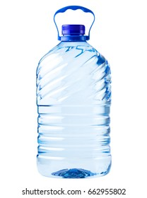 big bottle transparent plastic, clipping path, disposable container on white background isolated, Five liters, 5