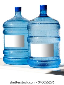 Big bottle of water with label isolated on a white background