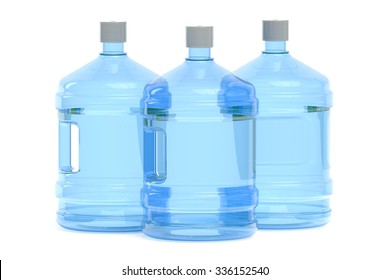 big bottles of water  isolated on white background