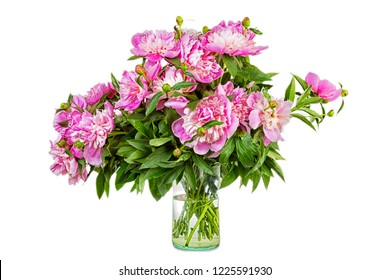 Big bouquet of pink peonies in a transparent vase, it is isolated, a white background