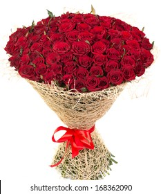 Big bouquet of red roses isolated on white background. Beautiful natural flowers for a gift.