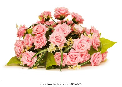 Big bouquet of roses isolated on white - more similar photos in my portfolio