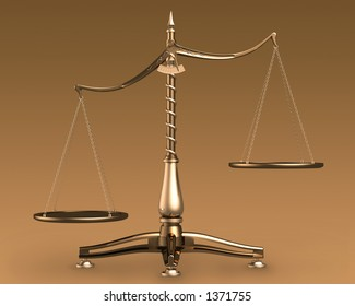 Big brass empty scales unbalanced conceptual on brown background