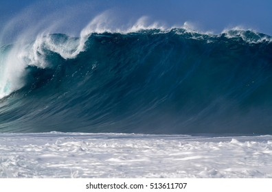 Big breaking wave on the north shore of Oahu Hawaii USA