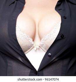 Big Breasts Lady In Sexy Corset Underwear
