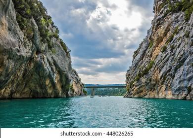 Big bridge across the canyon and river Verdon.  National park Merkantur, Provence, France