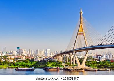 a big bridge at bangkok,thailand.
