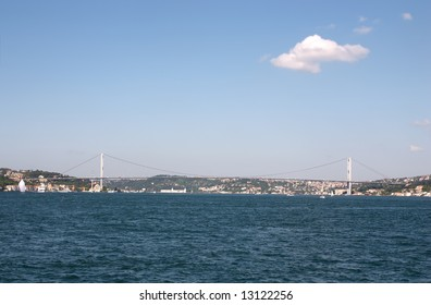 Big bridge in Istanbul over bosphorous with blue sky