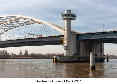 Big bridge over river Lek in the Netherlands