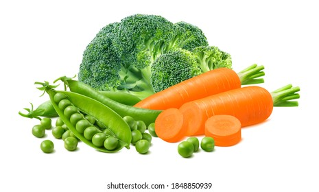 Big broccoli, carrots and green peas isolated on white background. Package design element with clipping path