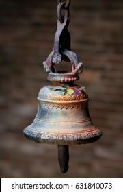 Big bronze bell in a hindu temple in Kathmandu, Nepal
