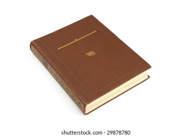 big brown old book with golden signs