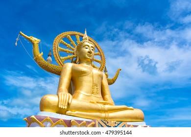 Big buddha with blue sky background at Samui island, Suratthani, Thailand