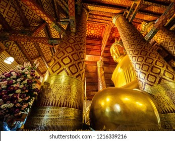 Big Buddha and highly revered Buddha statue is called Luang Pho Tho by Thai and Sam Pao Kong by Thai-Chinese  in Wat Phanan Choeng Temple in Ayuthaya, Thailand.