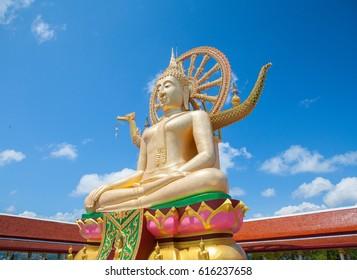 big buddha at samui island with blue sky background