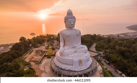 Big Buddha statue Was built on a hilltop of Phuket Thailand Can be seen from a distance. As a tourist destination and as a place of Buddhist worship.