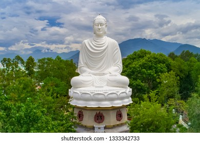 Big Buddha statue at the Long Son Pagoda or Chua Long Son, a Buddhist temple in the city of Nha Trang in south Vietnam - Image