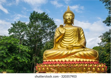 Big Buddha which  a source of religious of art and beautiful culture.This is public domain at Wat Sirindhorn Ubonrachathani Province Thailand made from donation money from people in the village.