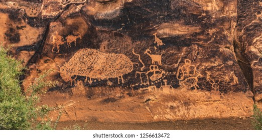 "The ""Big Buffalo"" petroglyph rock art panel in Nine Mile Canyon, near Price, Utah, USA.  Called the ""world's longest art gallery,"" the art was made over 1000+ years by Archaic Fremont and modern Ute."