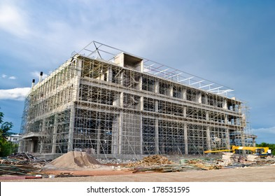 Big building in construction process