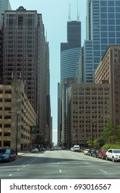 Big building on a street on Chicago Downtown