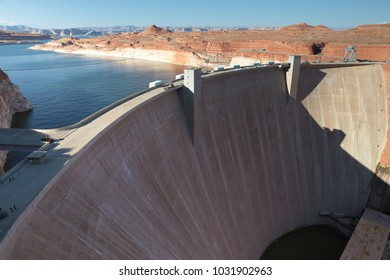 big building wall Glen Canyon Dam Arizona usa near page and highway 89 sightseeing south west america