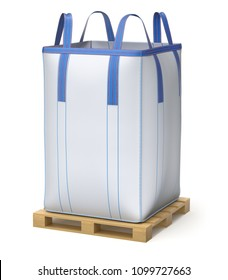 Big bulk bag on wooden pallet - 3D illustration