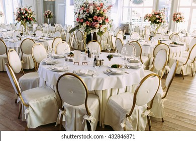Big bunch of colorful flowers on the wedding table