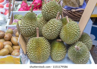 Big Bunch of Durian Tropical Fruit at Market