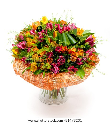 Big Bunch Multicolored Flowers Vase Stock Photo Edit Now 81478231