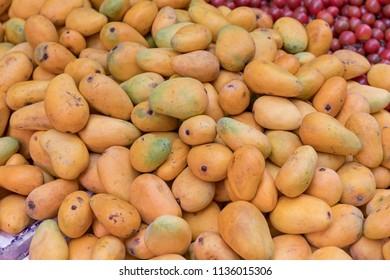 Big Bunch of Yellow Papaya Tropical Fruit at Market