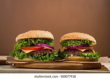 big burger with beef. fastfood background.