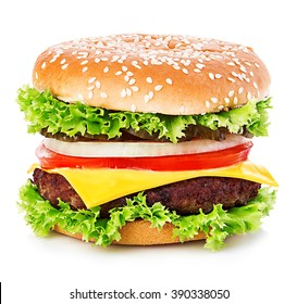 Big burger, hamburger, cheeseburger close-up isolated on a white background.
