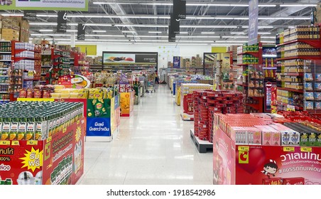 BIG C, THAILAND- February 4, 2021 : Consumer products are placed on the shelves, Single supermarket that has everything, Thailand's leading department store.