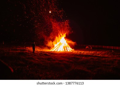 Big campfire on the meadow