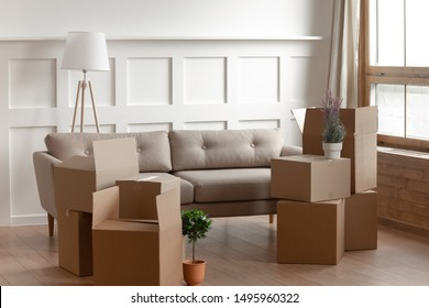 Big cardboard boxes, domestic flowers potted plants, floor lamp and comfortable couch inside of modern living room, no people. Concept of new first home or relocation, loan mortgage, delivery service