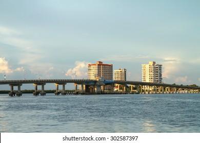 Big Carlos Pass Bridge connecting Fort Myers Beach to Bonita Springs, Florida, USA.