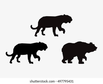 big cats and bear sihouette icons image