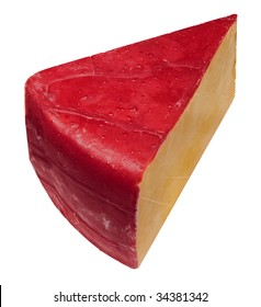 Big Cheese: A big wedge of American hoop cheddar cheese covered with red wax on a white background