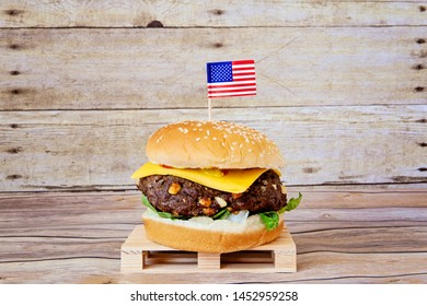 Big Cheeseburger with American Flag