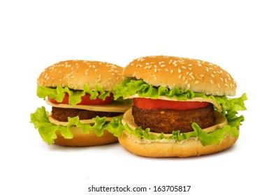 big cheeseburger isolated on white background