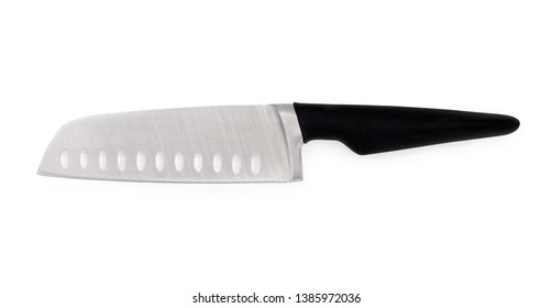 Big chef's kitchen knife with black handle isolated on white background, top view