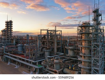 Big chemical factory at sunset
